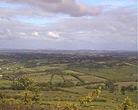 """Splendid panoramic view to the west from the Lough-an-Leagh mountain in County Cavan."""