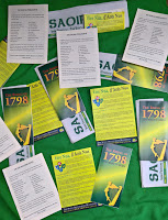 Easter 'leaflet packs', referencing the years 1798 and 1803, will be distributed at the RSF Easter Commemoration in O'Connell Street, Dublin, on Easter Monday 2018.