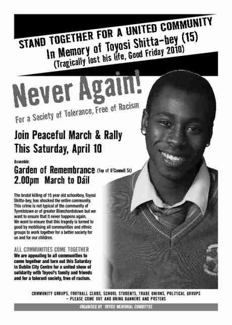 A4 Poster for Sat 10th March & Rally for Tolerance Against Racism - in memory of Toyosi