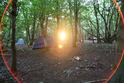 A view of the camp towards sunset