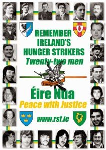 The 22 men that died on hunger strike will be commemorated in Bundoran, Donegal, on Saturday 27th August 2016.