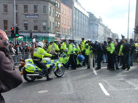 Gardai Try to push crowd from O Connell Street as March is Due to Begin