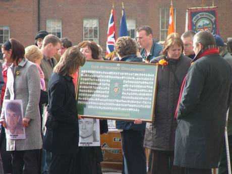 Placard Naming RUC officers killed During Troubles