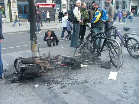 Torched Moped and Bikes