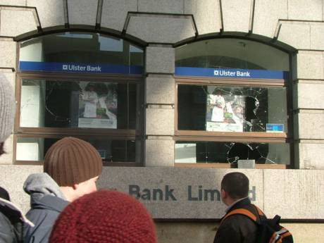 Ulster Bank Windows Smashed