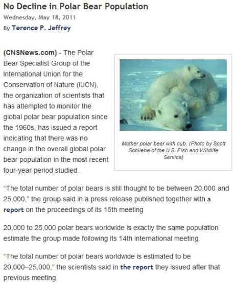 No decline In Polar Bear Population Since 1960's