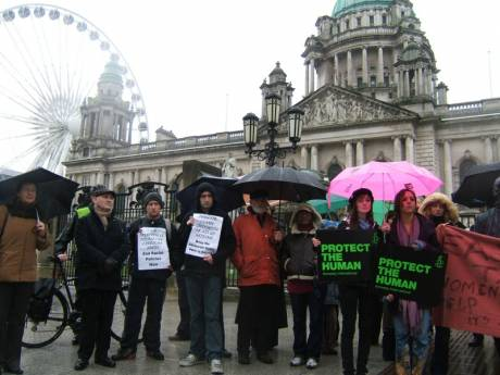 Outside Belfast City Hall