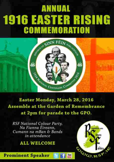 The RSF Dublin Easter Commemoration will be held on Easter Monday (28th March 2016).