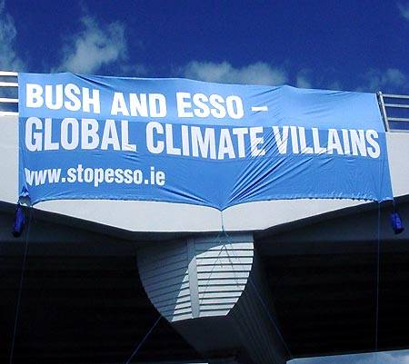 stop esso banner on clare bridge