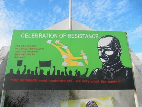 James Connolly Mural on back of Free Derry Corner