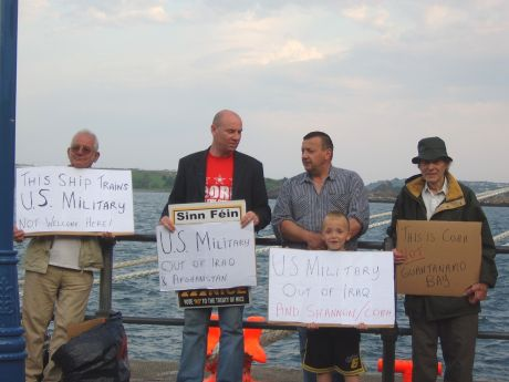 Bob Bickerdike (right) protests against US warships in Cobh 2006