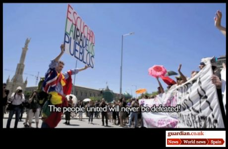 GUARDIAN VID: Spain gets angry: 'The people united will never be defeated'