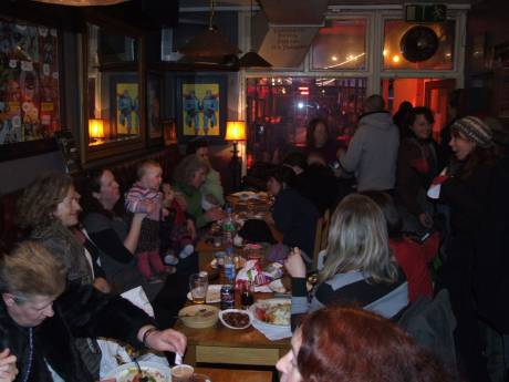A scene from the Community Dinner at Fionnbarra's, 6p.m. - 7p.m. A multitude of diners scoffed the lot!