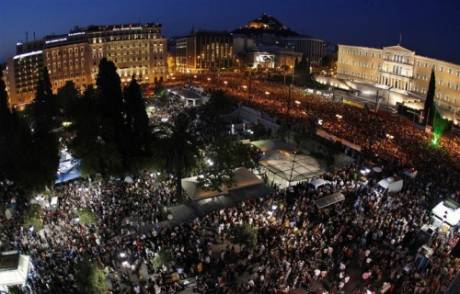 100,000 'indignants' march on Parliament in Athens - unprecedented pro-democracy protests in Greece will be going into their 7th day tomorrow.