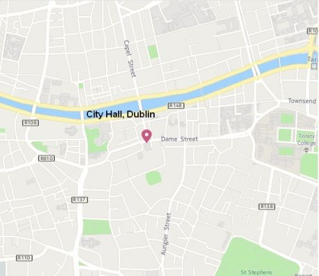 map to Dublin City Hall for Protest on Monday May 9th at 5pm