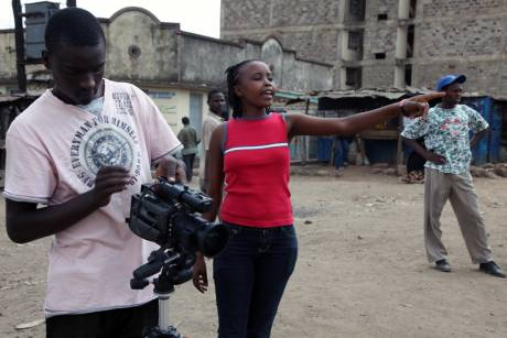 Esther Waweru directing a soap