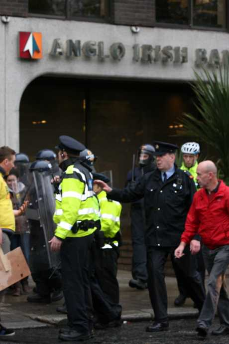 Riot police at Anglo Irish Bank