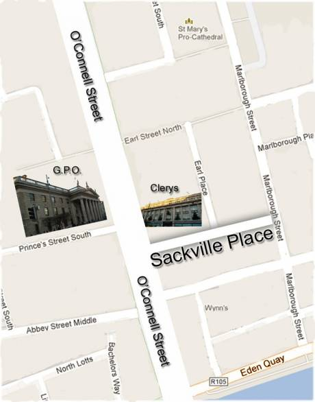 Map of O'Connell Street area showing the location of Sackville Place in relation to the GPO and Clerys