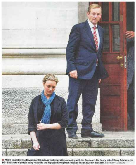 Big man protects little woman - Enda Kenny and Mairia Cahill (Irish Times front page 23 October 2014)