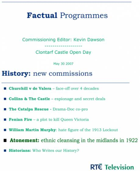 "RTE uses ""ethnic cleansing"" tag to describe programme - where did they get it? No one will own up. - click for detail"