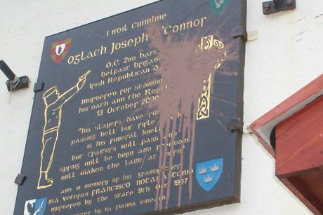 The memorial plaque following an attack by PSNI directed criminals