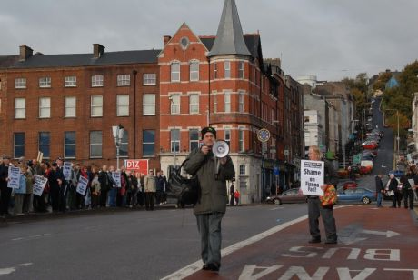 Cllr. Mick Barry encourages the protesters