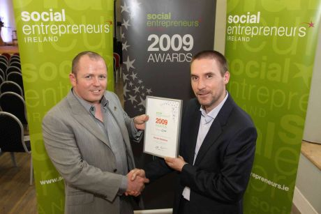 Declan Sweeney, ReConnect Autism, receives Social Entrepreneurs Ireland award from Sean Coughlan, Chief Executive of Social Entrepreneurs Ireland