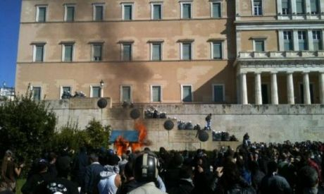 Guard box on fire as mass crowds get closest to parliament steps in 2 years