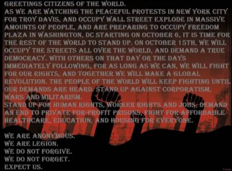 Anonymous manifesto - GLOBAL REVOLUTION OCT 15TH