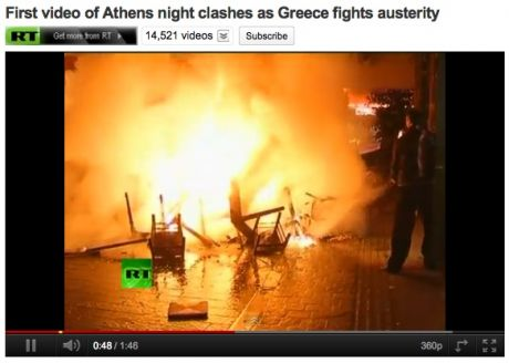 night 1 of the 48 hour strike; ongoing battles in the burning streets of athens