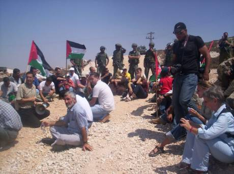 Demonstrating in a Closed Military Zone against the Apartheid Wall -  Walaje, Bethlehem