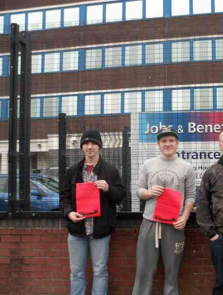 Republican Activists outside the Shankill Road Jobs & Benefits Office